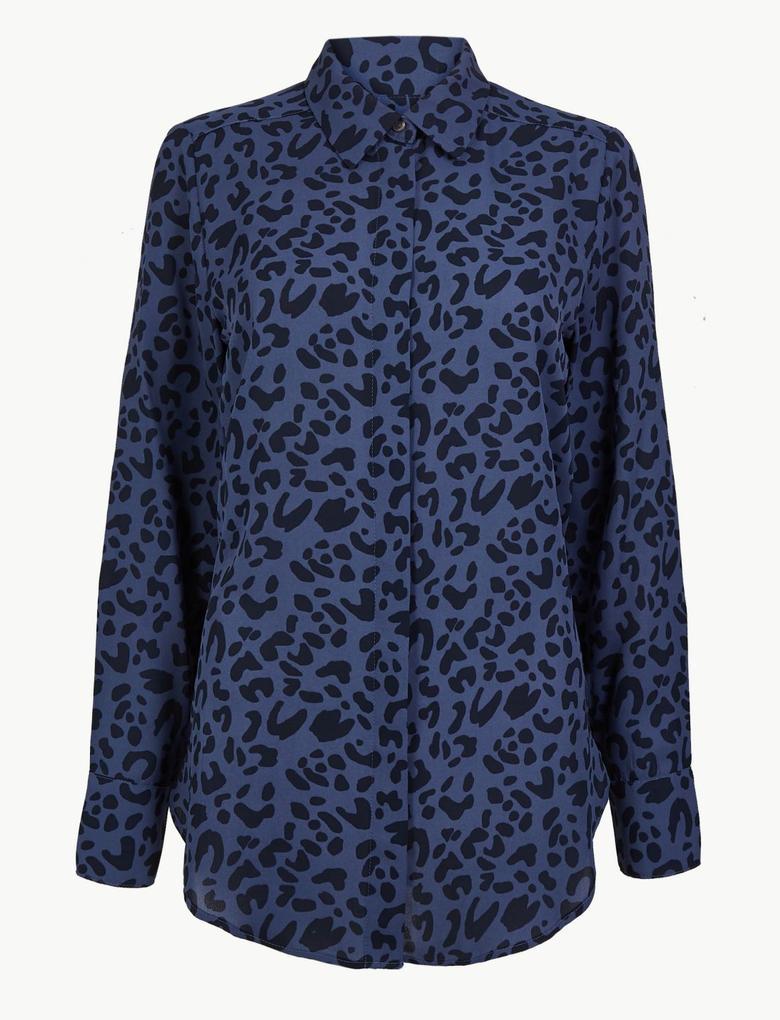 Kadın Mavi Desenli Uzun Kollu Tunik