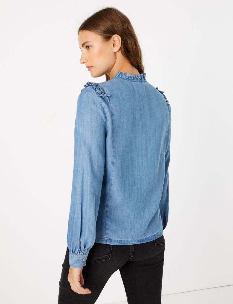 Düğme Detaylı Fırfırlı Bluz