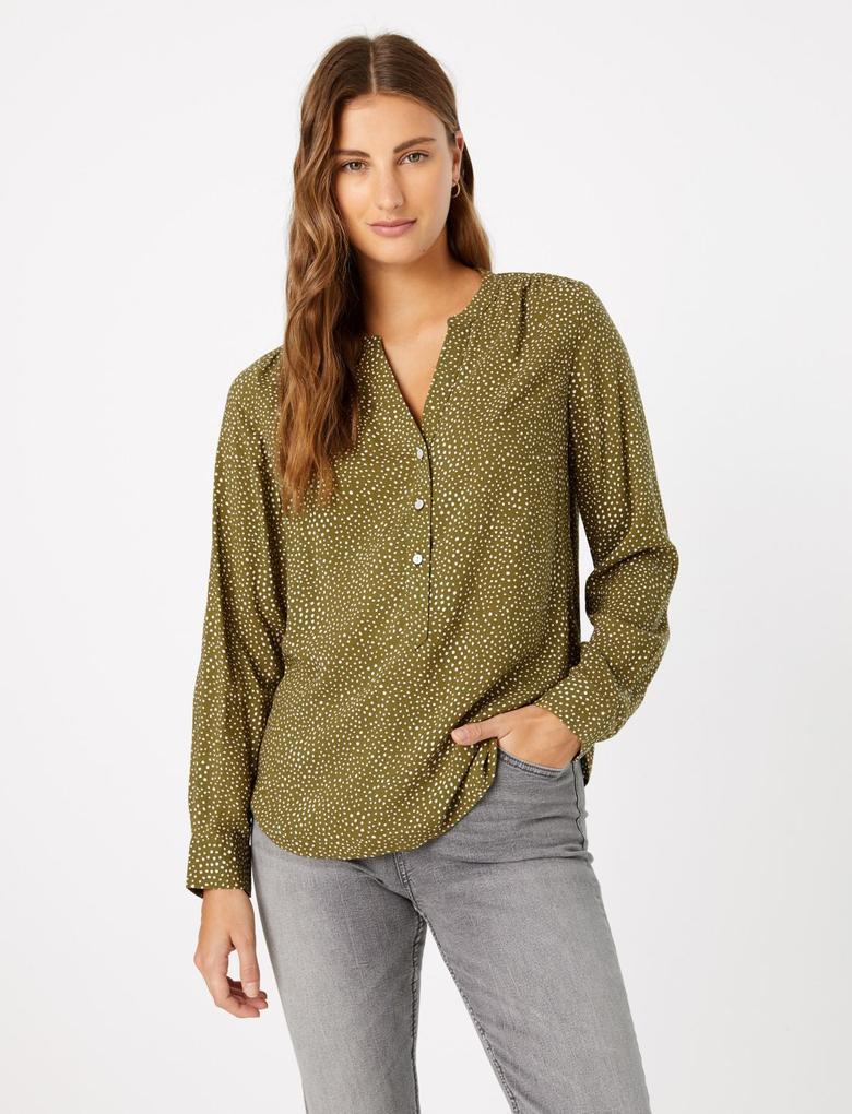 Kadın Yeşil Puantiyeli Bluz