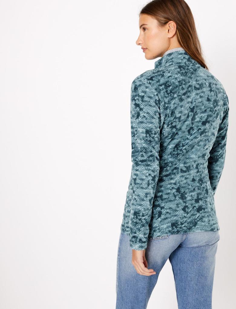 Kadın Yeşil Desenli Polar Ceket