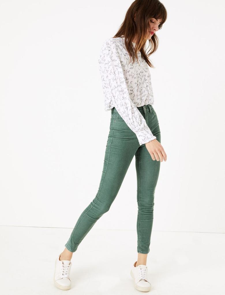 Yeşil Kadife Skinny Pantolon