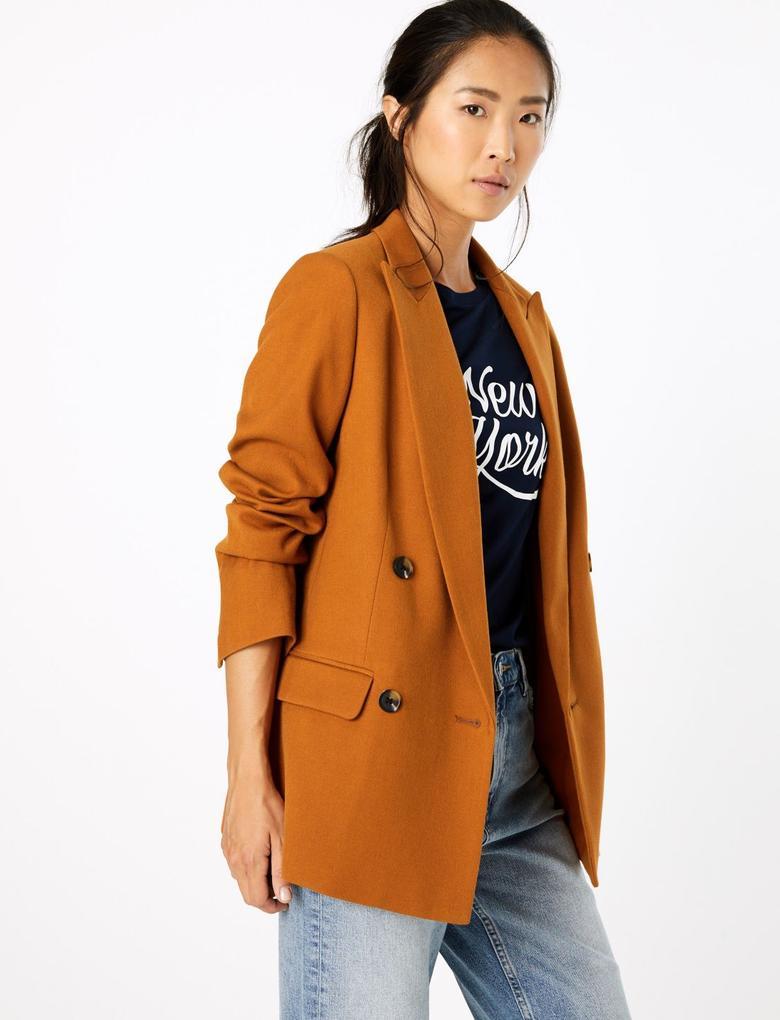 Kahverengi Kruvaze Blazer Ceket