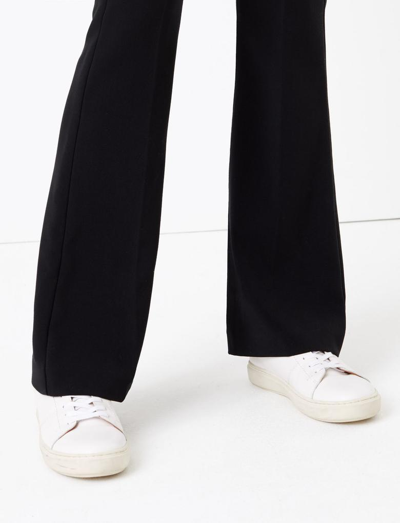 Siyah Yüksek Belli Flared Pantolon