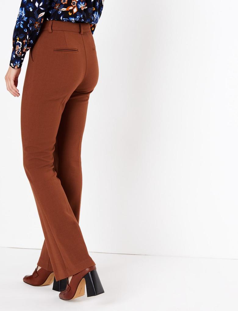 Kadın Kahverengi Yüksek Belli Flared Pantolon