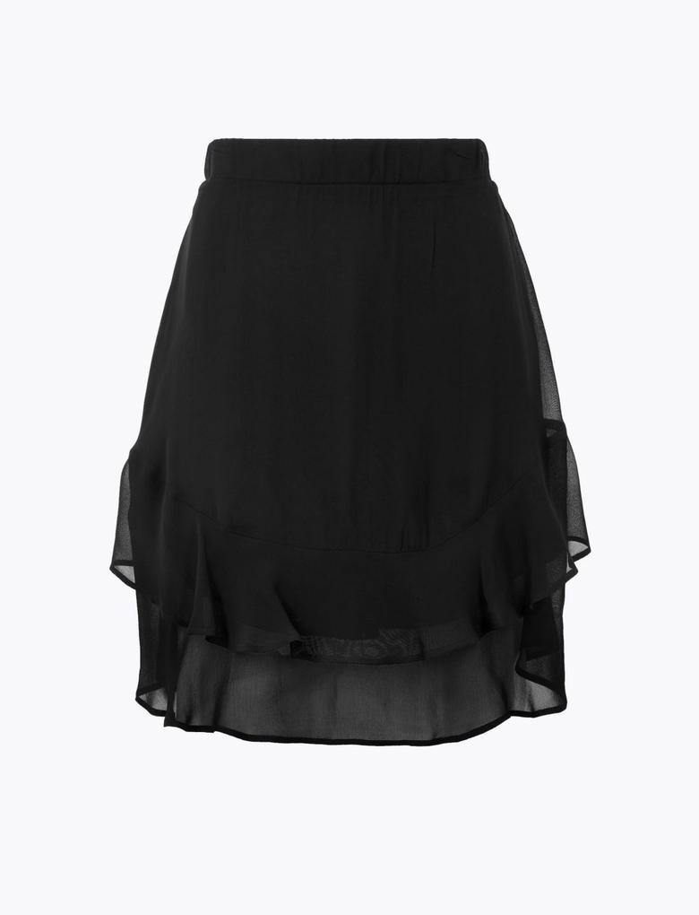 Kadın Siyah Fırfırlı Mini Etek