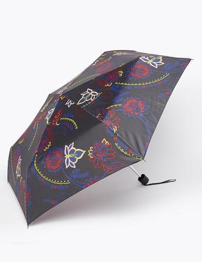 Kadın Siyah Çiçek Desenli Şemsiye