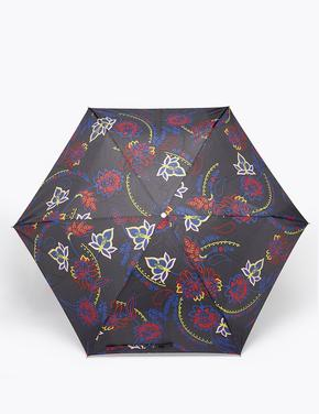 Siyah Çiçek Desenli Şemsiye
