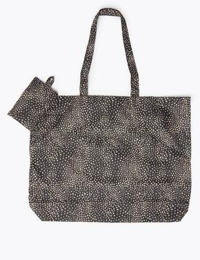Kadın Siyah Katlanabilir Desenli Alışveriş  Çantası
