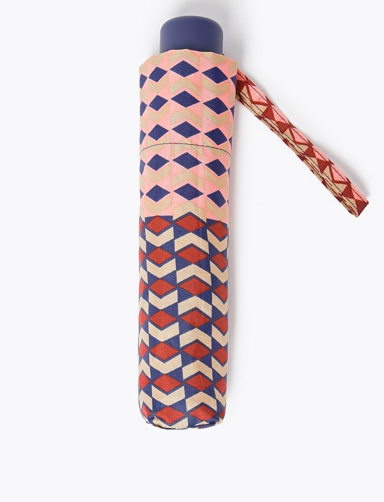 Kadın Mor Geometrik Desenli Şemsiye