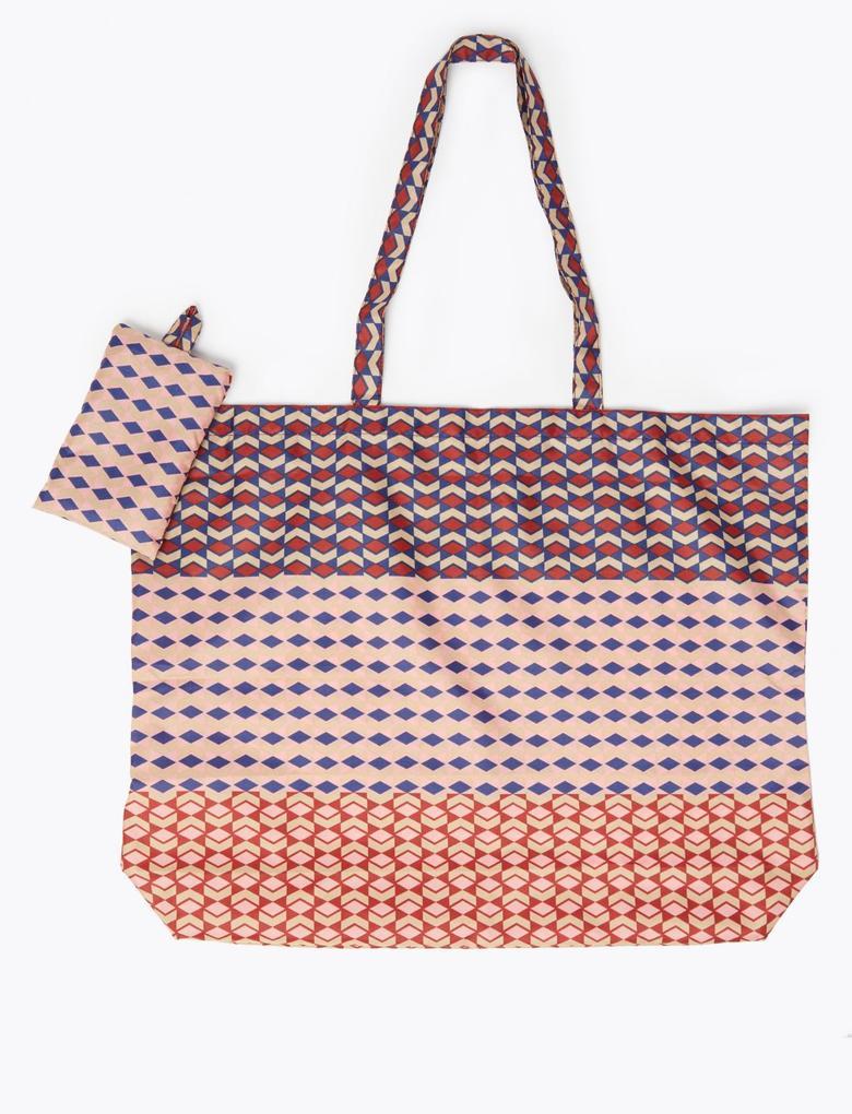 Kadın Mor Katlanabilir Geometrik Desenli Alışveriş  Çantası