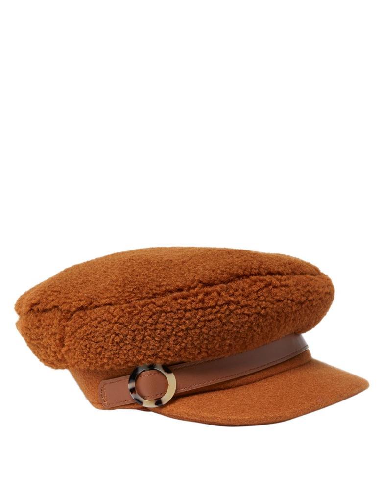 Kadın Kahverengi Kürk Görünümlü Kasket