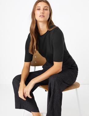 Kadın Siyah Yarım Kollu T-shirt