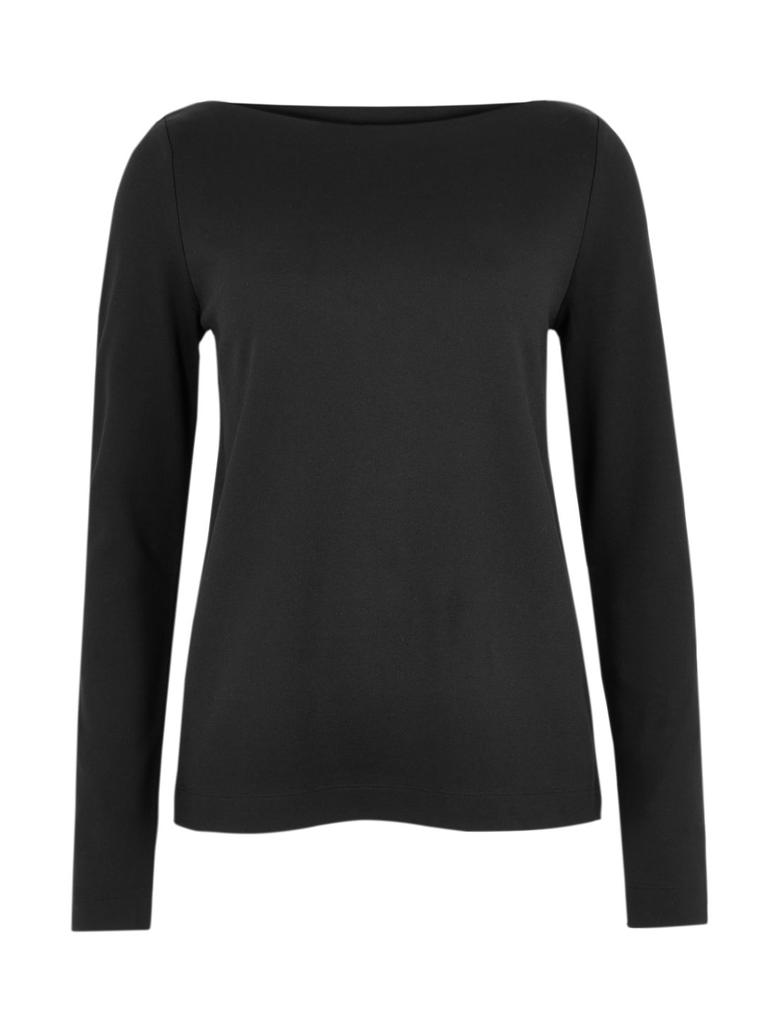 Kadın Siyah Kayık Yaka Sweatshirt
