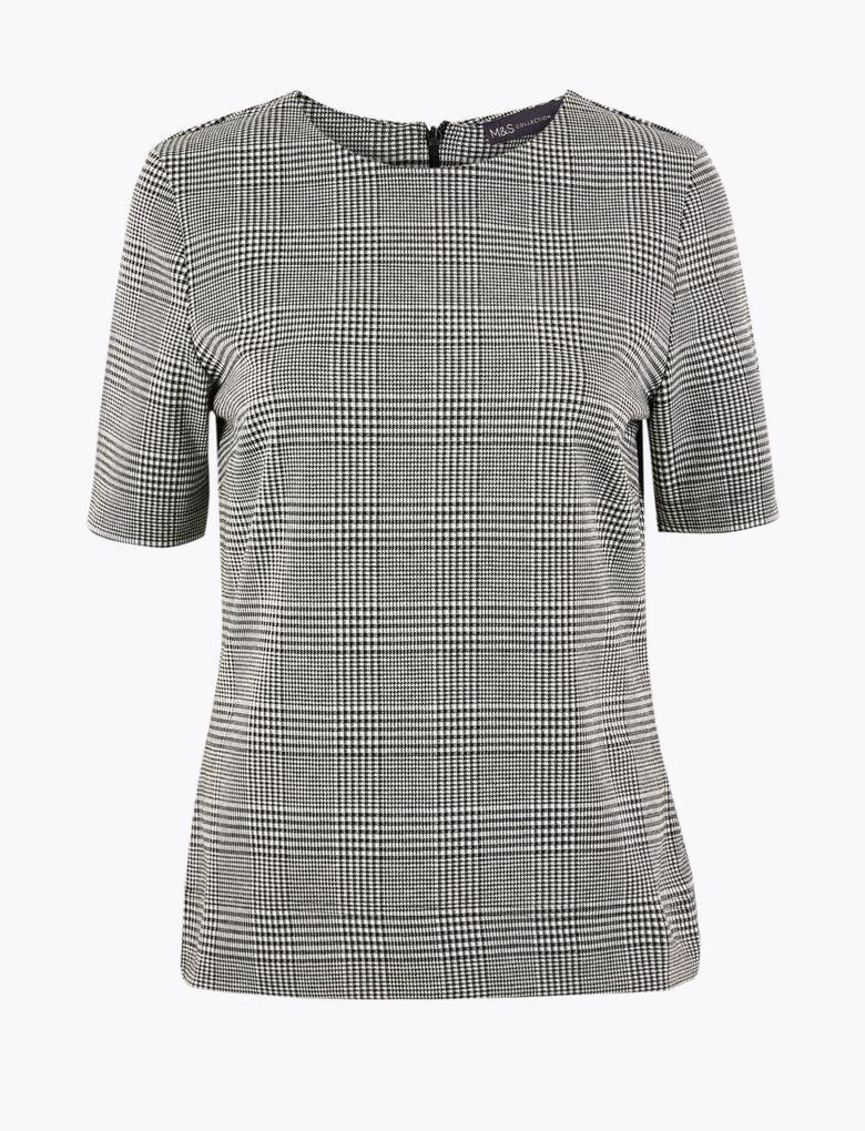 Kadın Gri Ekose Kısa Kollu Bluz