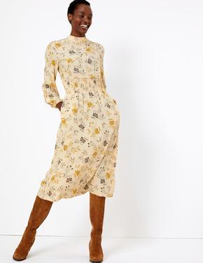 Çiçek Desenli Dik Yakalı Midi Elbise