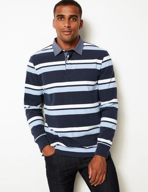 Erkek Lacivert Çizgili Polo Yaka T-shirt