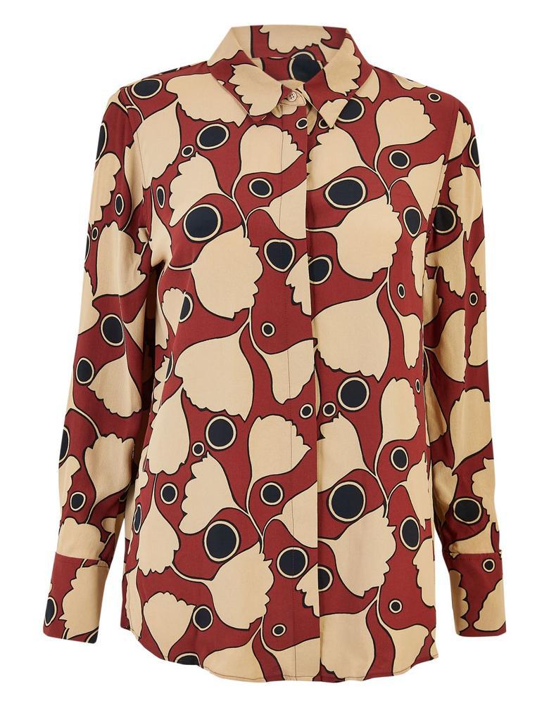 Turuncu Çiçek Desenli Bluz