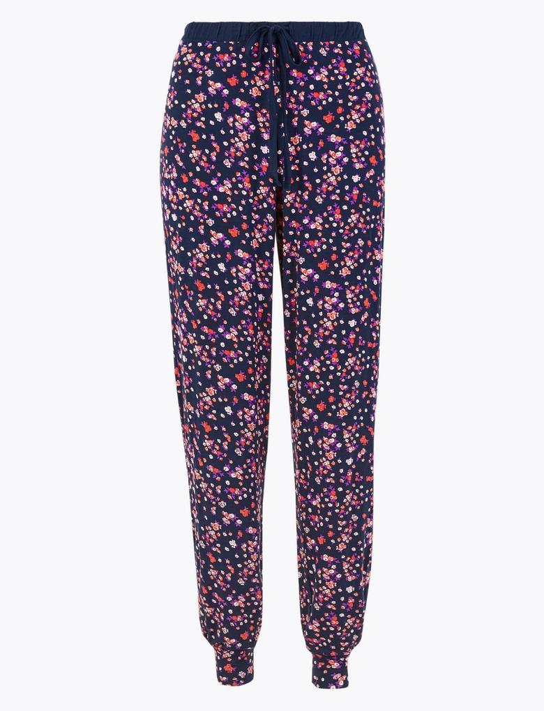 Kadın Lacivert Çiçek Desenli Pijama Altı