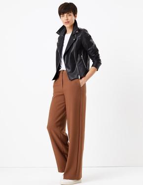 Kadın Kahverengi Yüksek Belli Geniş Paçalı Pantolon