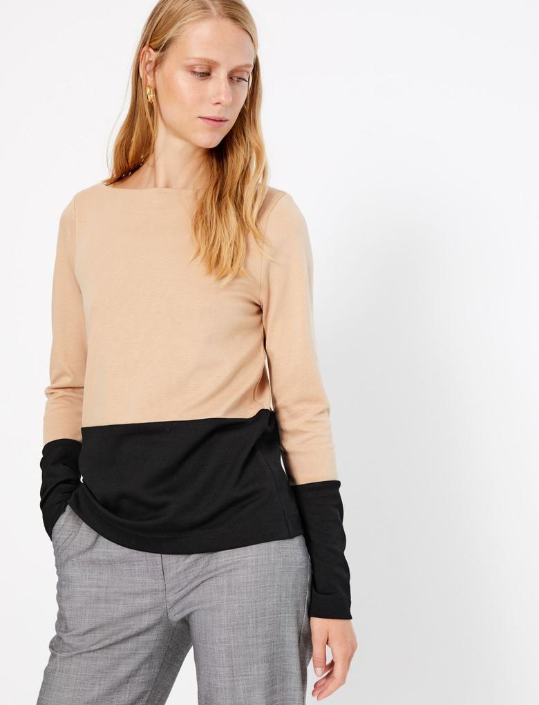Kadın Kahverengi Renk Bloklu Sweatshirt