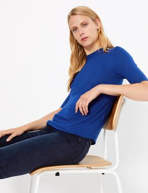 Kadın Mavi Yarım Kollu T-shirt