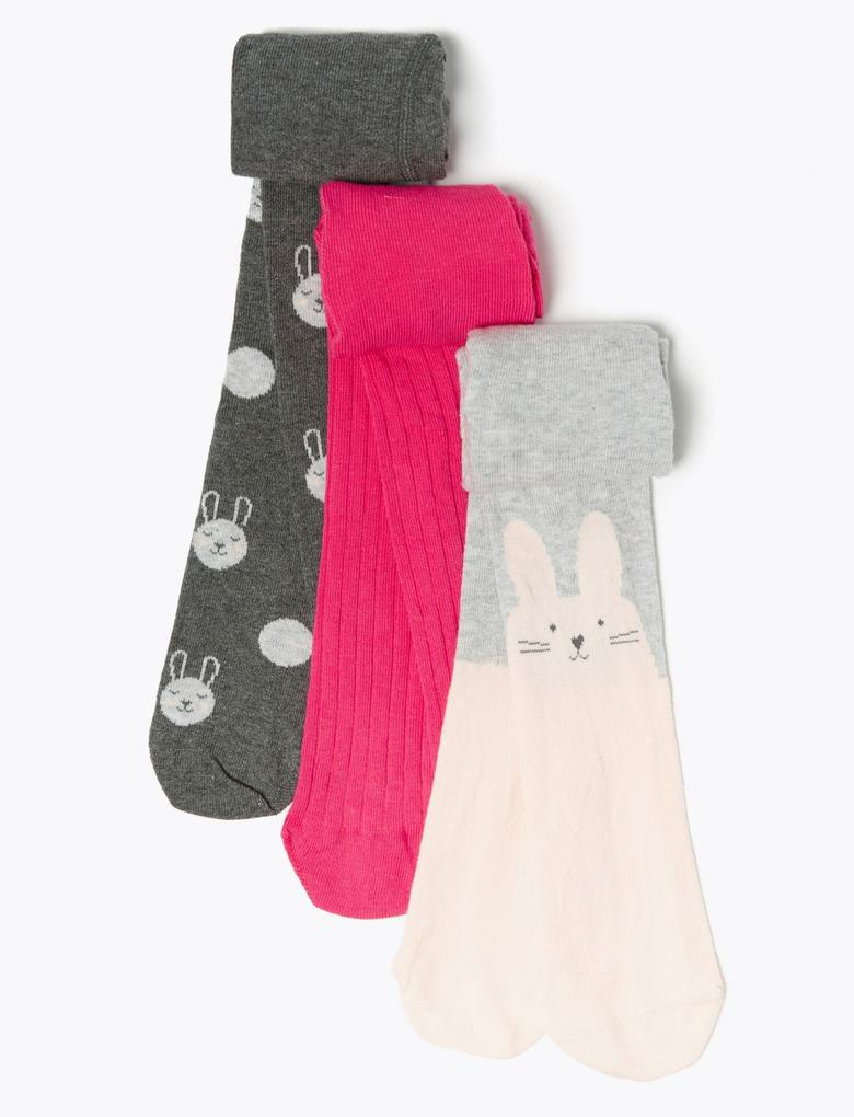 Bebek Multi Renk 3'lü Tavşan Desenli Külotlu Çorap Seti