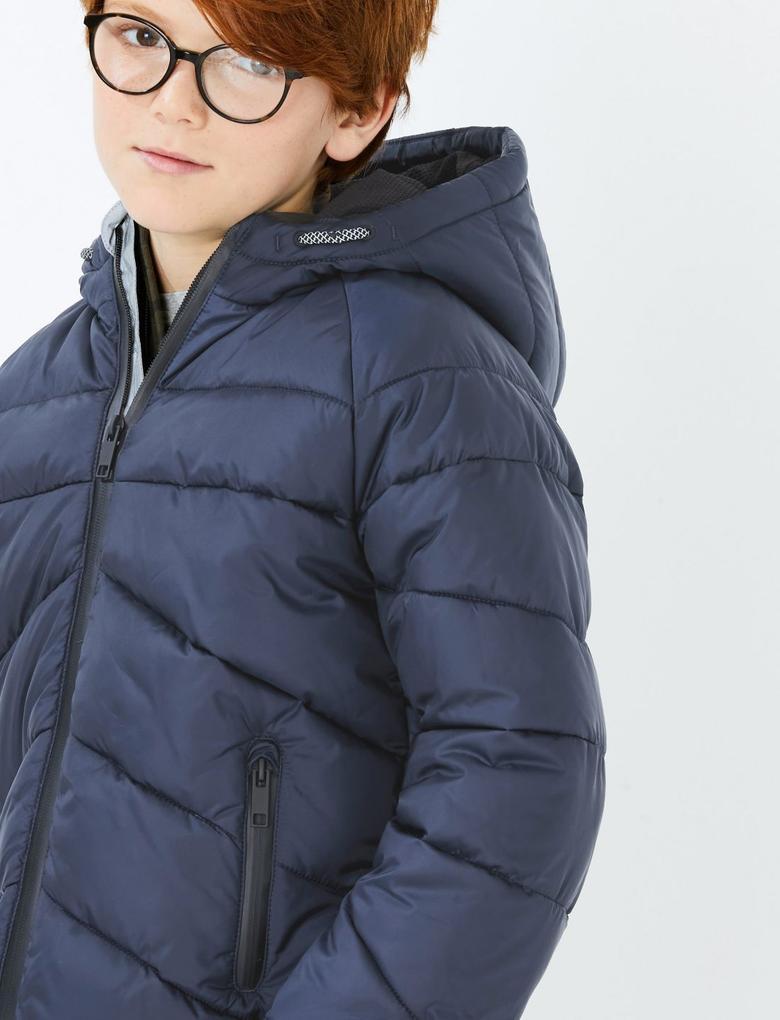 Erkek Çocuk Lacivert Dolgulu Kapüşonlu Mont
