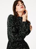 Kadın Siyah Desenli Midi Elbise