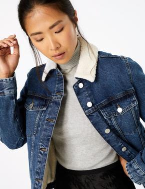 Kadın Lacivert Denim Ceket