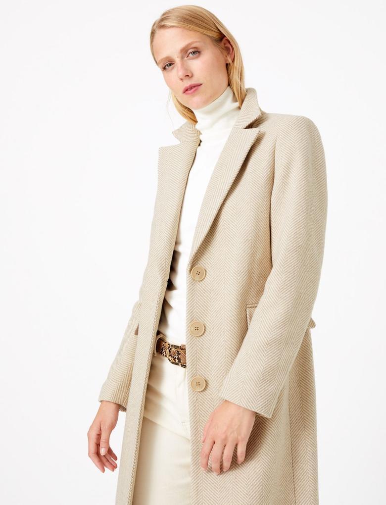 Kadın Bej Yün Karışımlı Desenli Palto