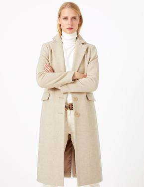 Yün Karışımlı Desenli Palto