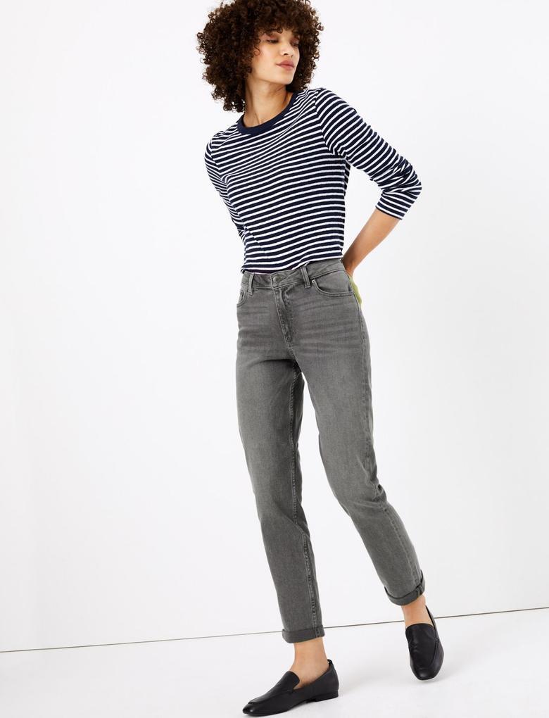 Kadın Gri Relaxed Slim Leg Jean Pantolon