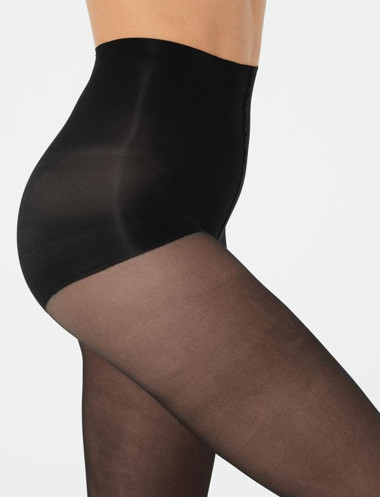 Kadın Siyah 2'li Paket 10 Denye Külotlu Çorap Seti