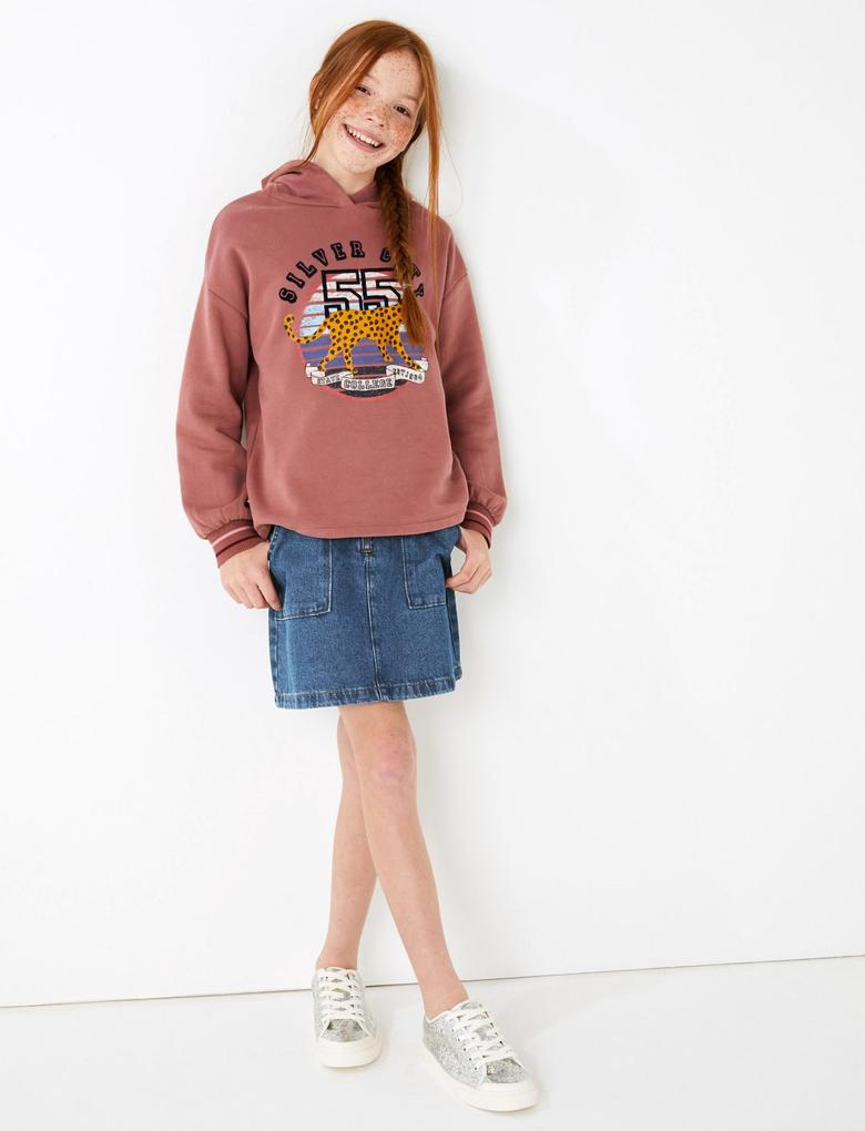 Kız Çocuk Pembe Leopar Desenli College Kapüşonlu Sweatshirt
