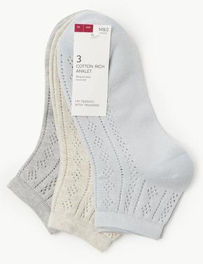 3'lü Parıltılı Ankle Çorap Seti