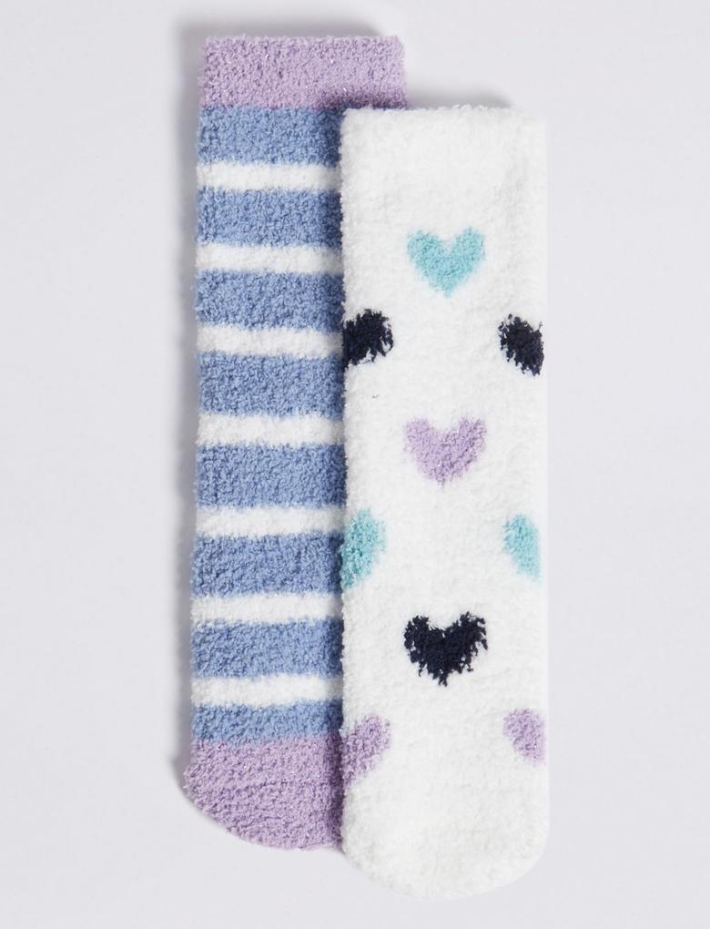 2'li Kalpli ve Çizgili Slipper Çorap Seti