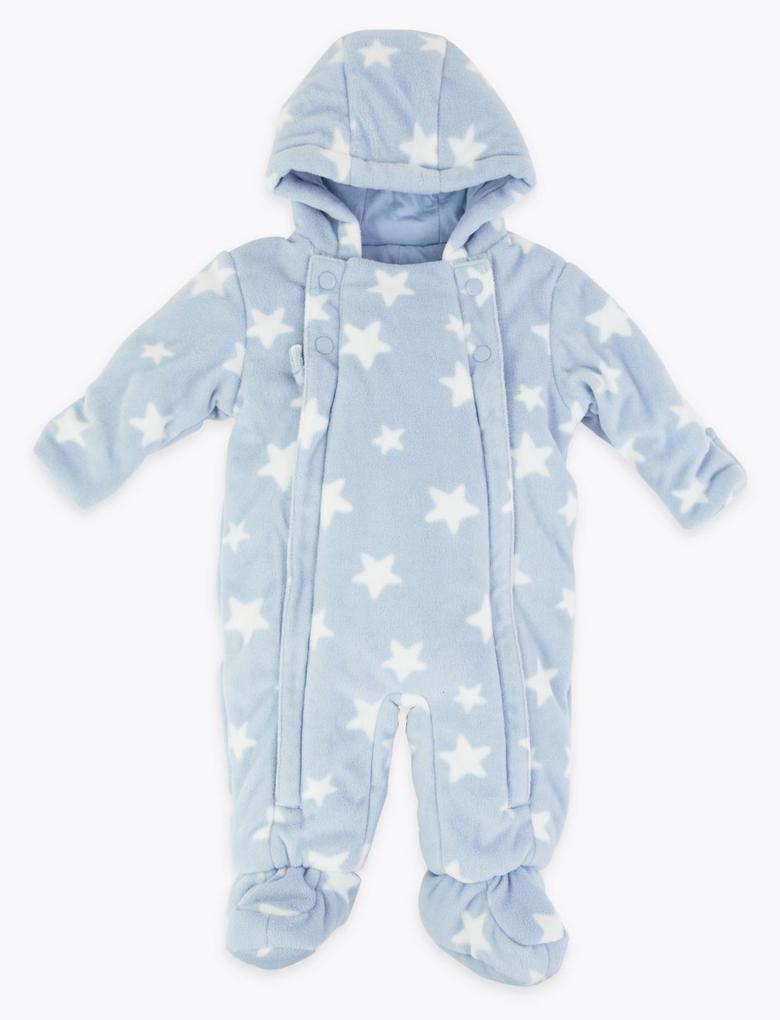 Bebek Mavi Yıldız Desenli Polar Tulum
