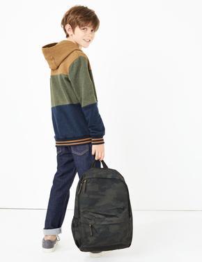Multi Renk Renk Bloklu Kapüşonlu Sweatshirt