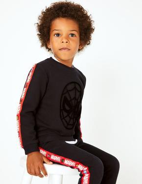 Siyah Marvel Spider-Man™ Desenli Sweatshirt