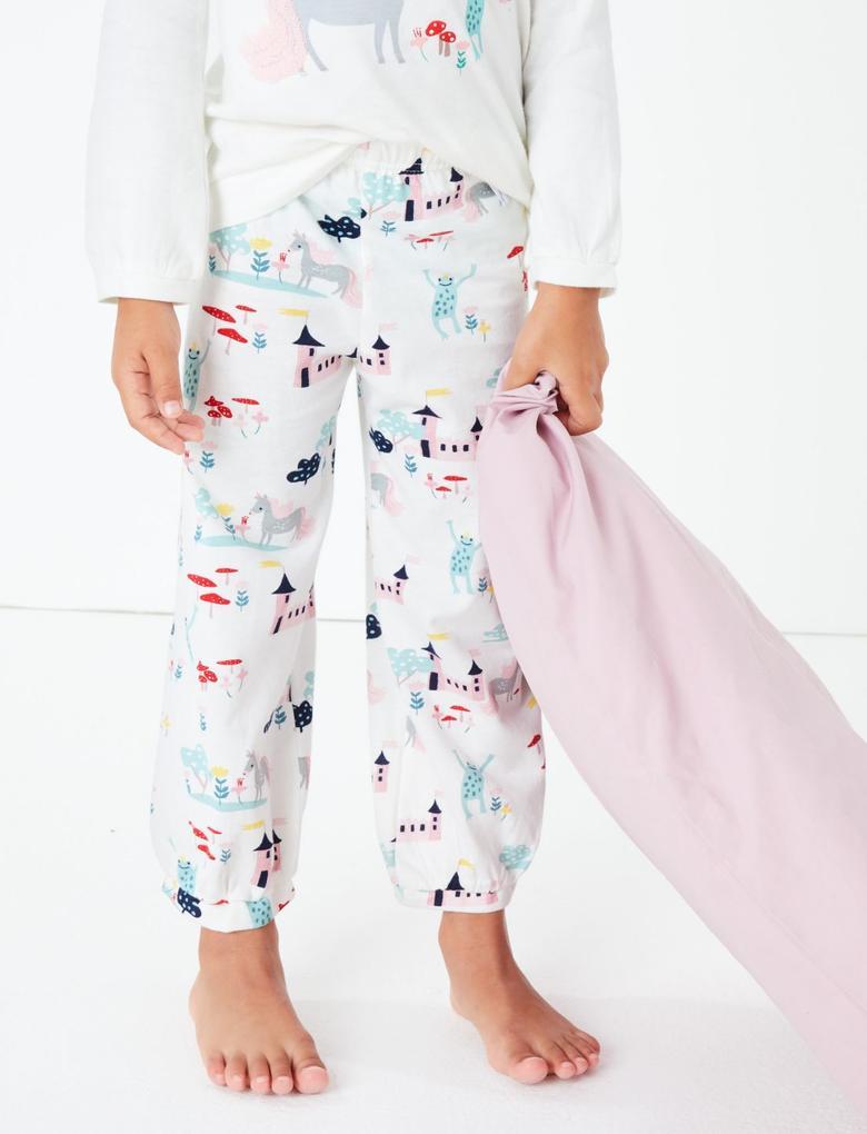 Çocuk Beyaz Unicorn Desenli Pijama Takımı