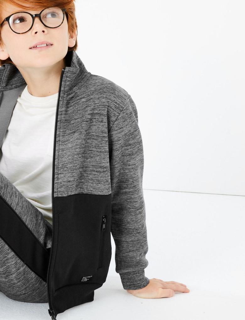 Erkek Çocuk Gri Fermuarlı Sweatshirt