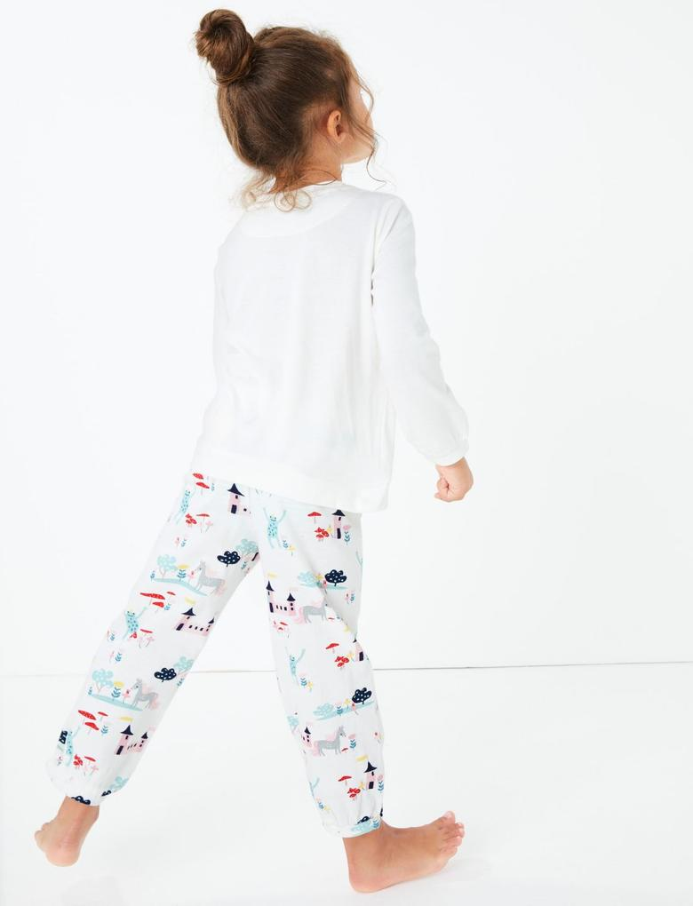 Beyaz Unicorn Desenli Pijama Takımı