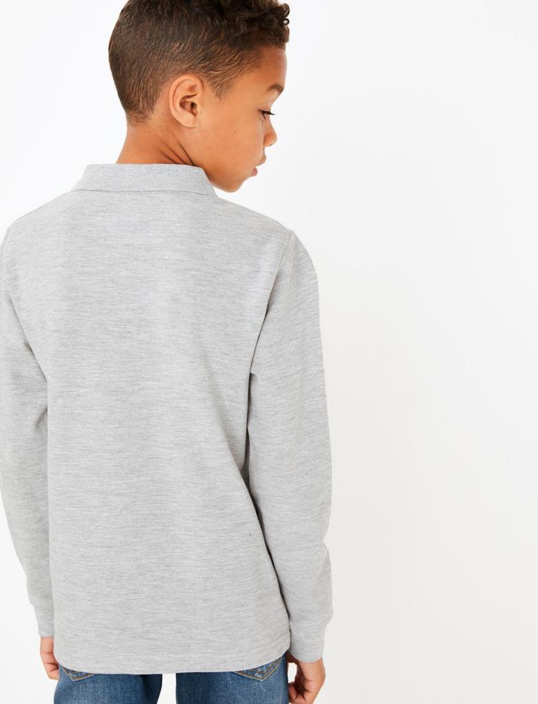 Erkek Çocuk Gri Dokulu Polo Yaka Uzun Kollu T-Shirt