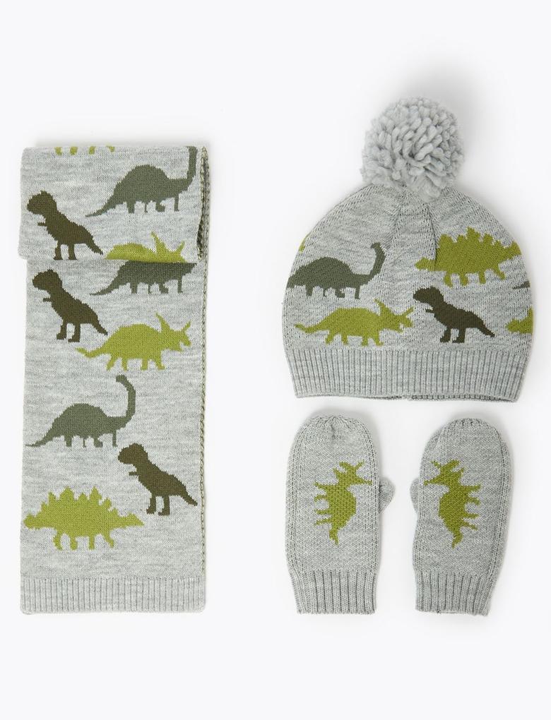 Gri Dinozor Desenli Atkı Şal Ve Eldiven Seti