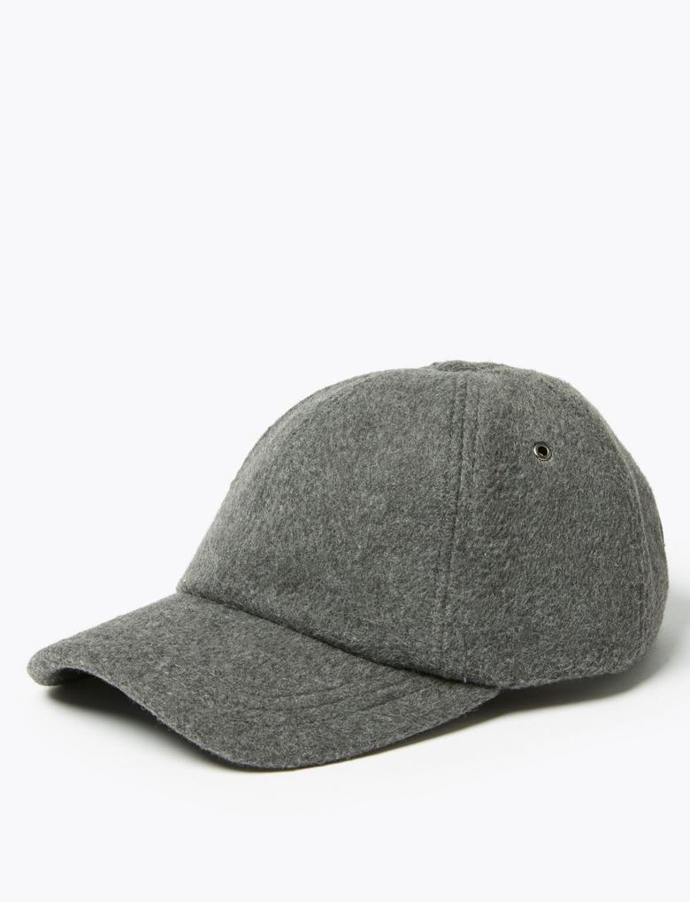 Erkek Gri Yünlü Beyzbol Şapkası