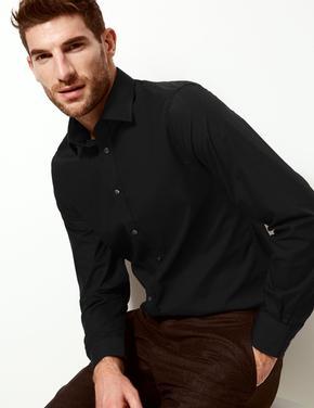 Siyah Pamuk Karışımlı Slim Fit Gömlek