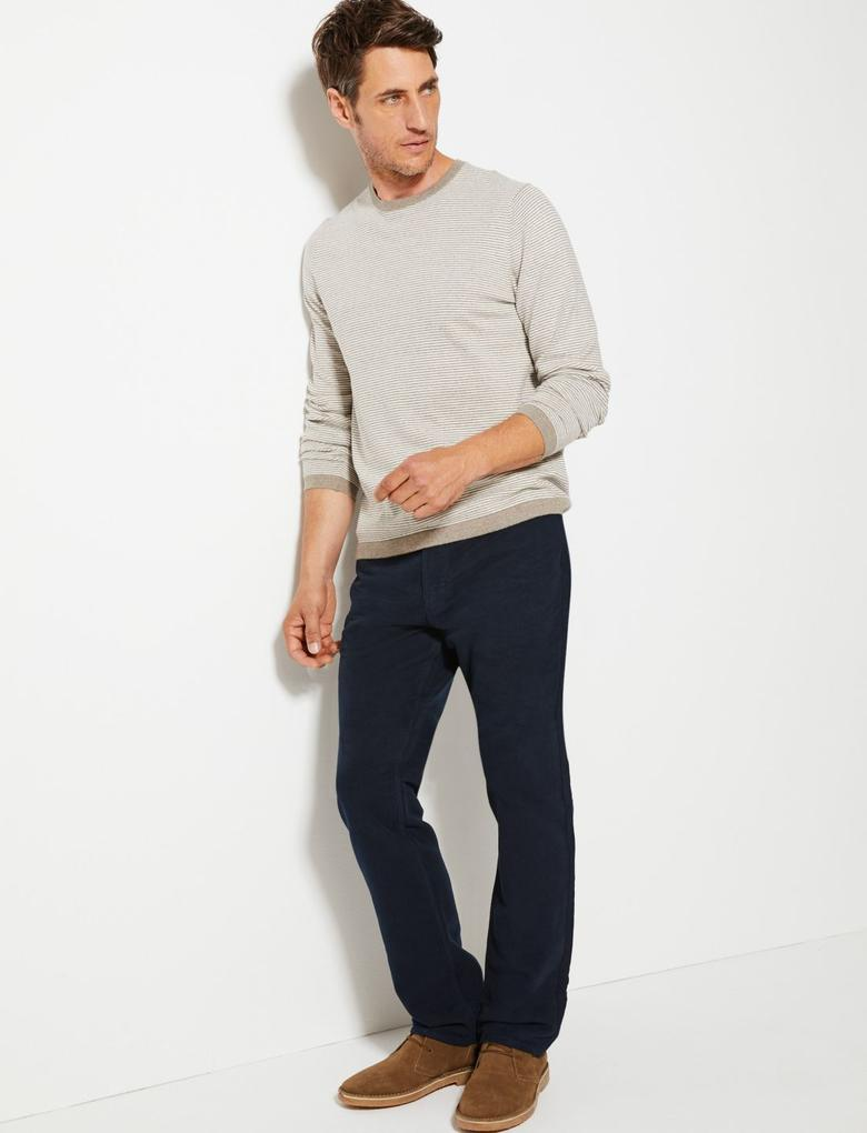 Erkek Lacivert Regular Fit Italian Moleskin Pantolon