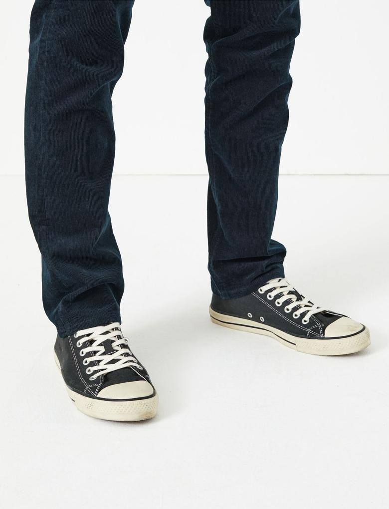 Erkek Lacivert Slim Fit 5 Cepli Kadife Pantolon