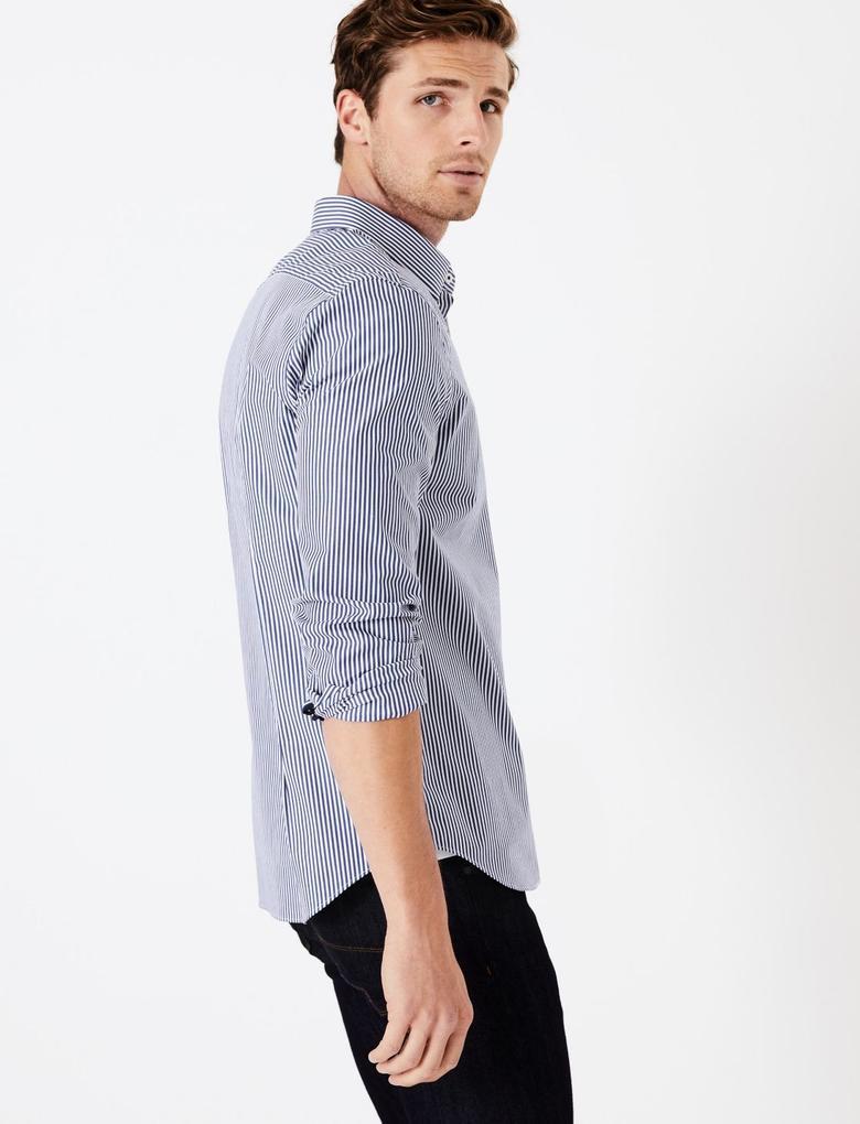 Çizgili Streç Gömlek