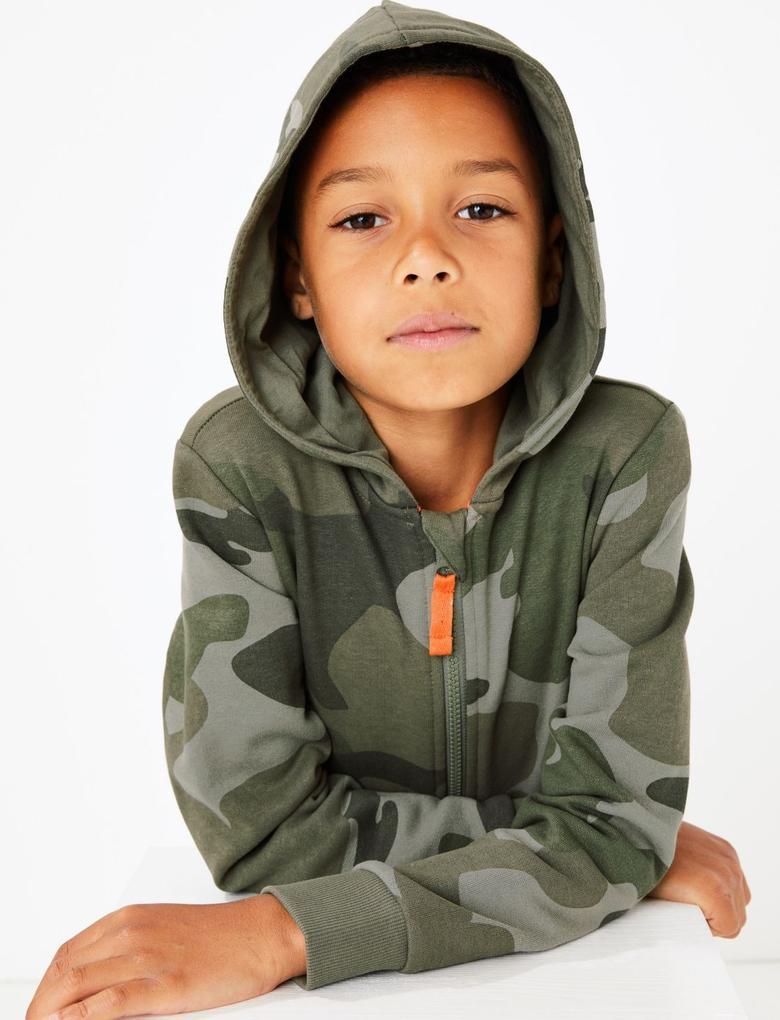 Erkek Çocuk Yeşil Kamuflaj Desenli Uyku Tulumu